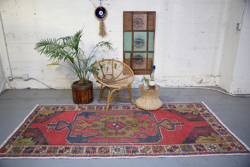 Vintage Turkish Faded Anatolian Rug 4.4ftx9.3ft