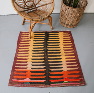 Old Mini Milas Kilim 3.4ftx3.4ft