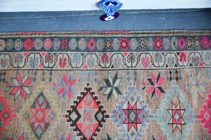 Vintage Kurdish Herki Runner 2.8ftx12.5ft