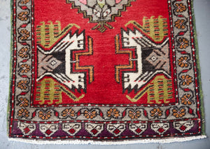 "Vintage Mini Turkish Rug 21""x40"""