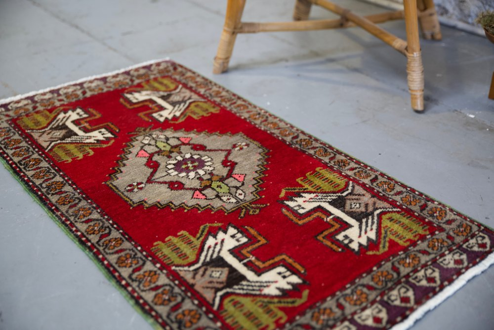 "Vintage Mini Turkish Rug 21""x38"""