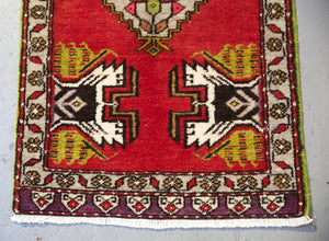 "Vintage Mini Turkish Rug 20""x38.5"""
