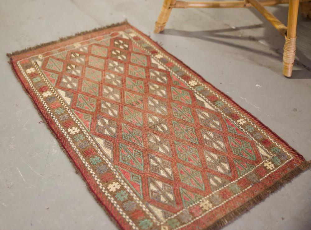 "Vintage Mini Turkish Kilim Rug 19.5""x37.5"""
