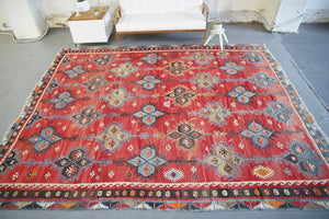 Old Sivas Sarkisla Kilim 9.5ftx11.9ft