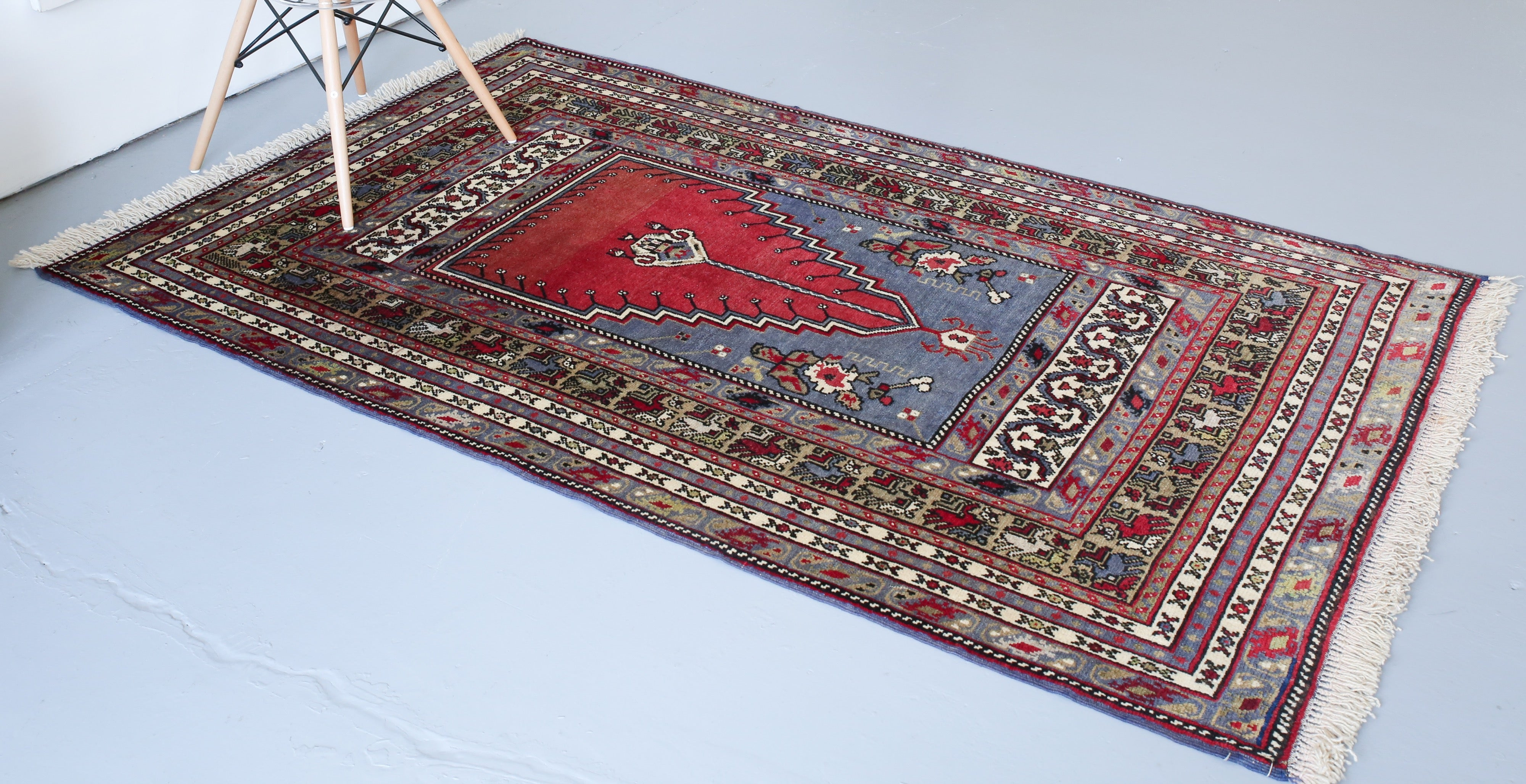 Old Anatolian Rug 4.7ftx7ft
