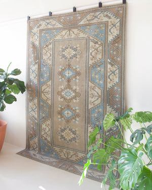old rug, antique rug, earthy colors, faded colors, Turkish rug, vintage rug, worn out rug, distressed rug, Portland, Oregon, rug store, rug shop, local shop, pile rug, cool colors, light colors