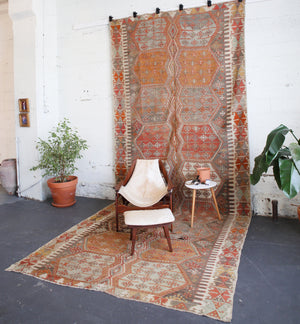 old rug, antique rug, earthy colors, faded colors, Turkish rug, vintage rug, flat weave, kilim rug, large area rug, square rug, Wild Shaman, Portland, Oregon, rug store, rug shop, local shop