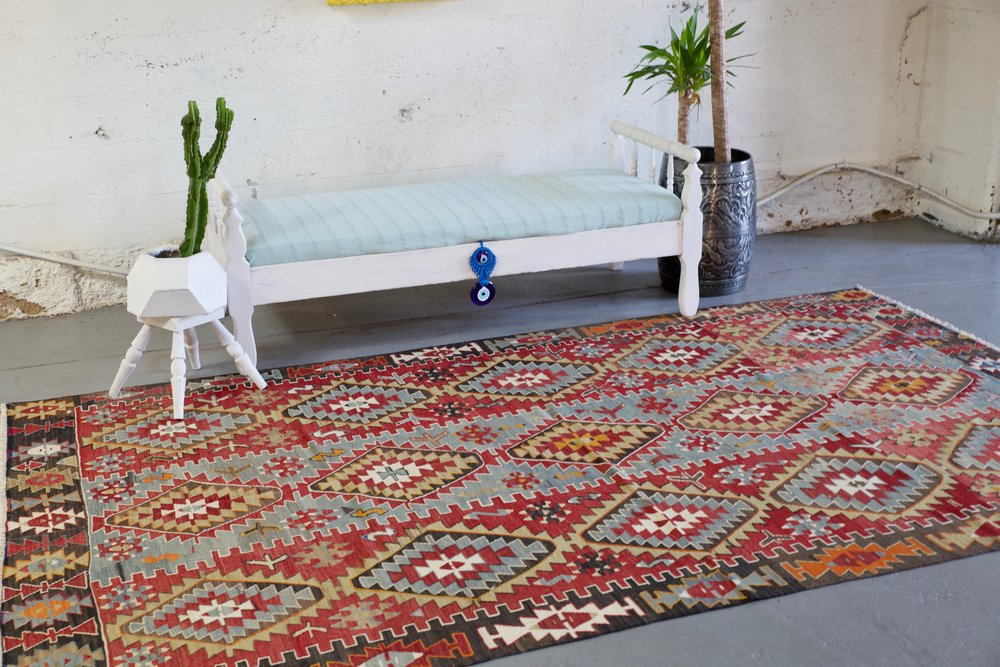 Old Oushak Esme Kilim 5.10ftx9.7ft