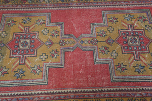 Vintage Turkish Faded Anatolian Rug 3.5ftx8.7ft