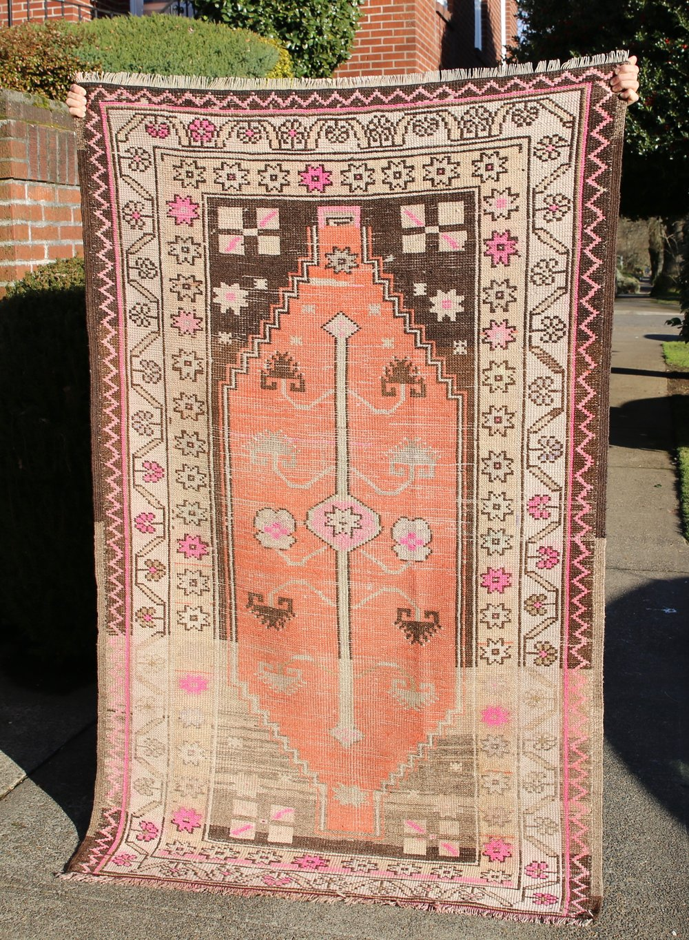 Vintage Faded Anatolian Turkish Rug 4x6.6ft