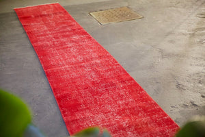 Vintage Overdyed Isparta Runner Rug in red 2.6ftx16.8ft