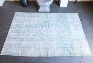 Vintage Overdyed Isparta Rug in Ice Blue 6ftx9ft