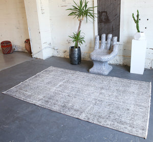 Vintage Overdyed Isparta Rug in Light Gray 5.8ftx8.7ft