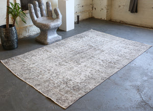 Vintage Overdyed Isparta Rug in Dark Gray 5.2ftx8.9ft