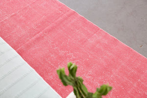 Vintage Overdyed Isparta Runner Rug in pink 2.6ftx13.3ft