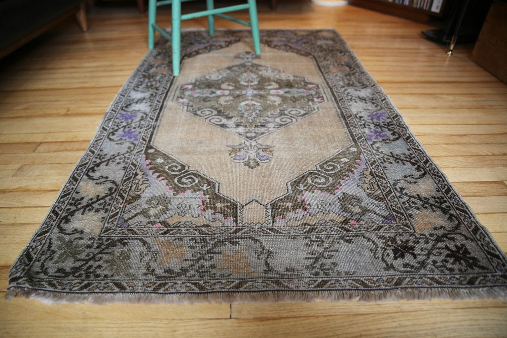 Old Faded Anatolian Turkish Rug 3.3x5.5ft