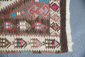 Old Kurdish Hakkari Kilim Runner 2.9ftx8.2ft