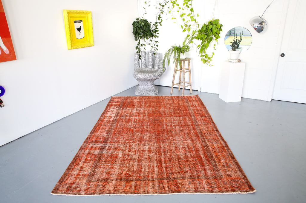 Vintage Overdyed Isparta Rug in Tangerine 6ftx9ft