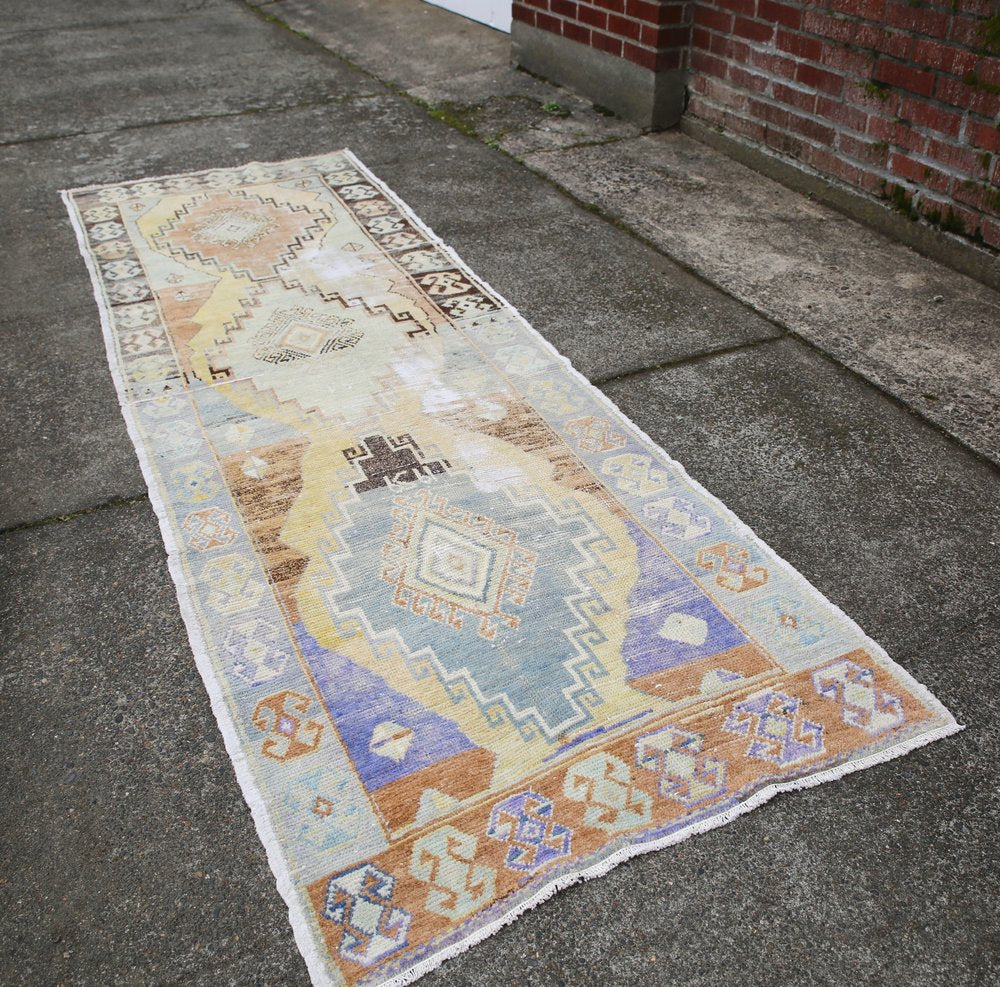 Vintage Faded Anatolian Turkish Rug Runner 3x9.3ft