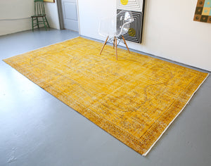 Vintage Overdyed Isparta Rug in Meyer Lemon 6.6ftx10.5ft