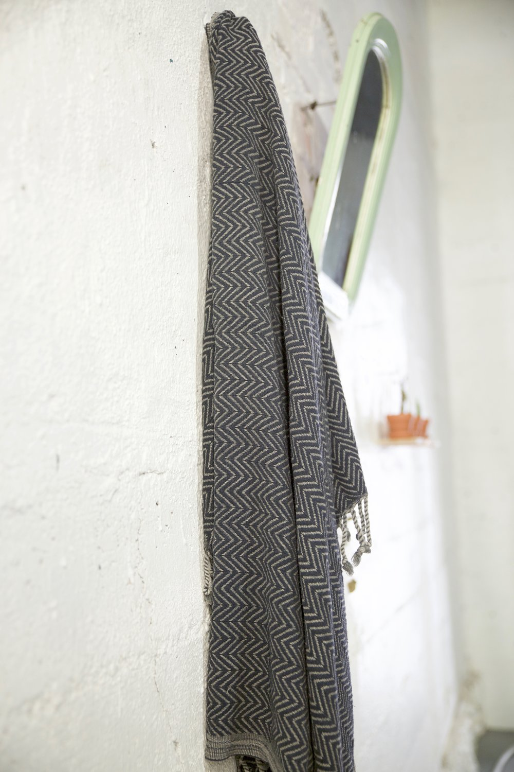 Handwoven Sabah Pestemal Towel in Black Stone (soft)