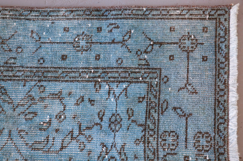 Vintage Overdyed Isparta Rug in Light Blue 4ftx6.8ft