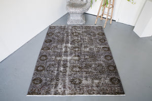 Vintage Overdyed Isparta Rug in Dark Gray 4.8ftx6ft