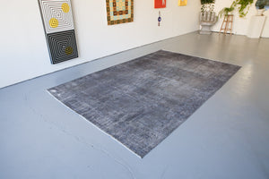 Vintage Overdyed Isparta Rug in Ash 7ftx11ft