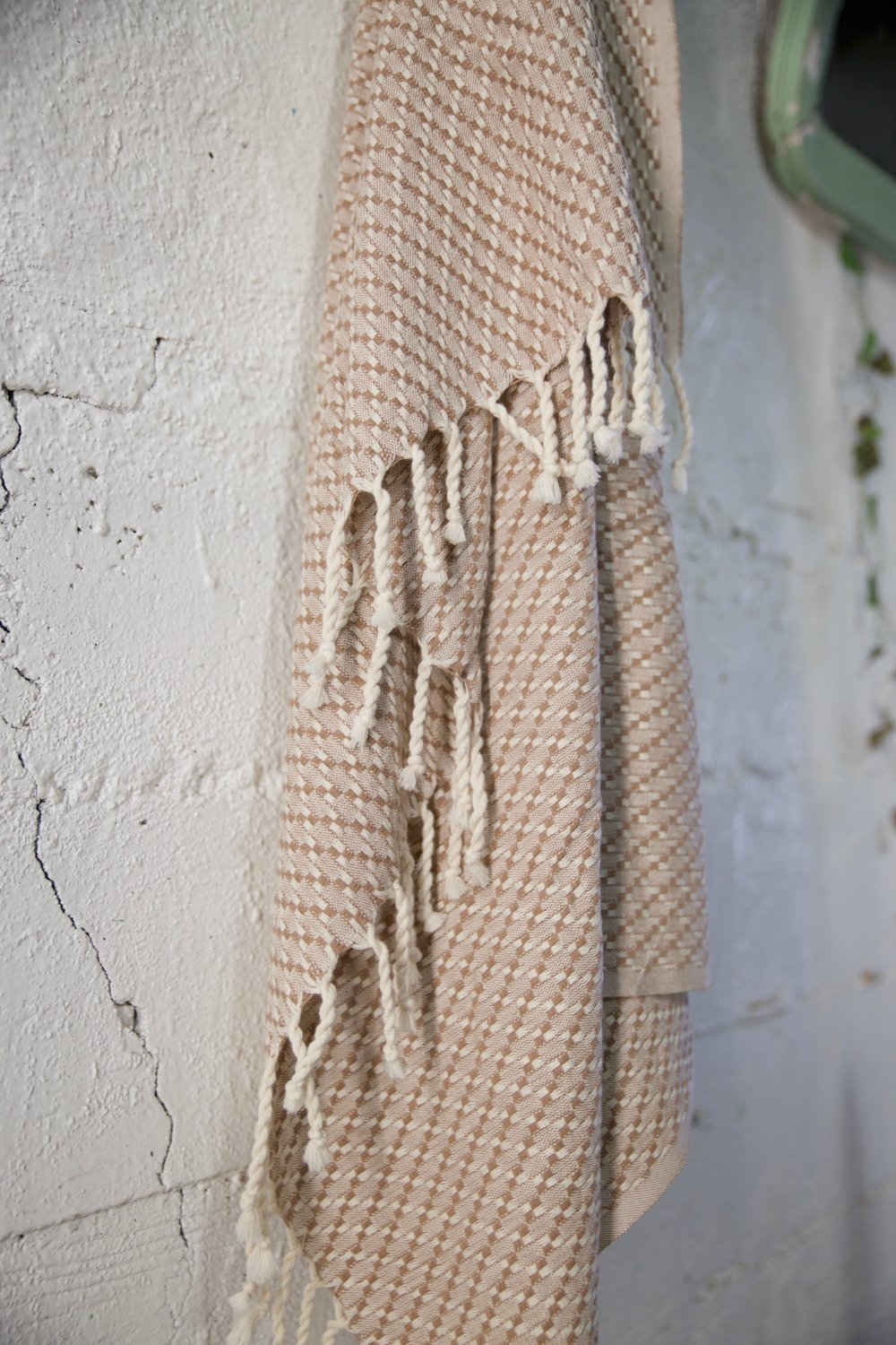 Handwoven Petek Pestemal Towel in Beige/Brown