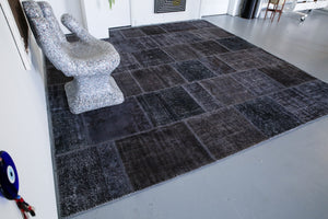 Vintage Overdyed Patchwork Rug overdyed in Black 10ftx10ft