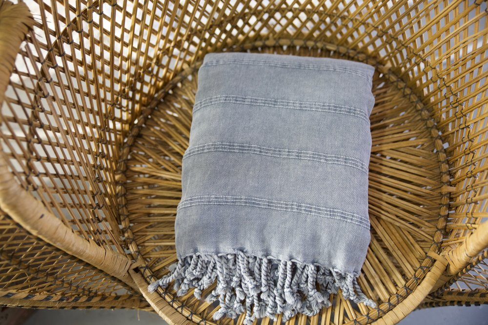 Rustic Large Pestemal Throw in Grey