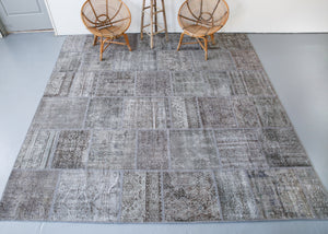 Vintage Overdyed Patchwork Rug overdyed in Light Gray 10ftx10ft