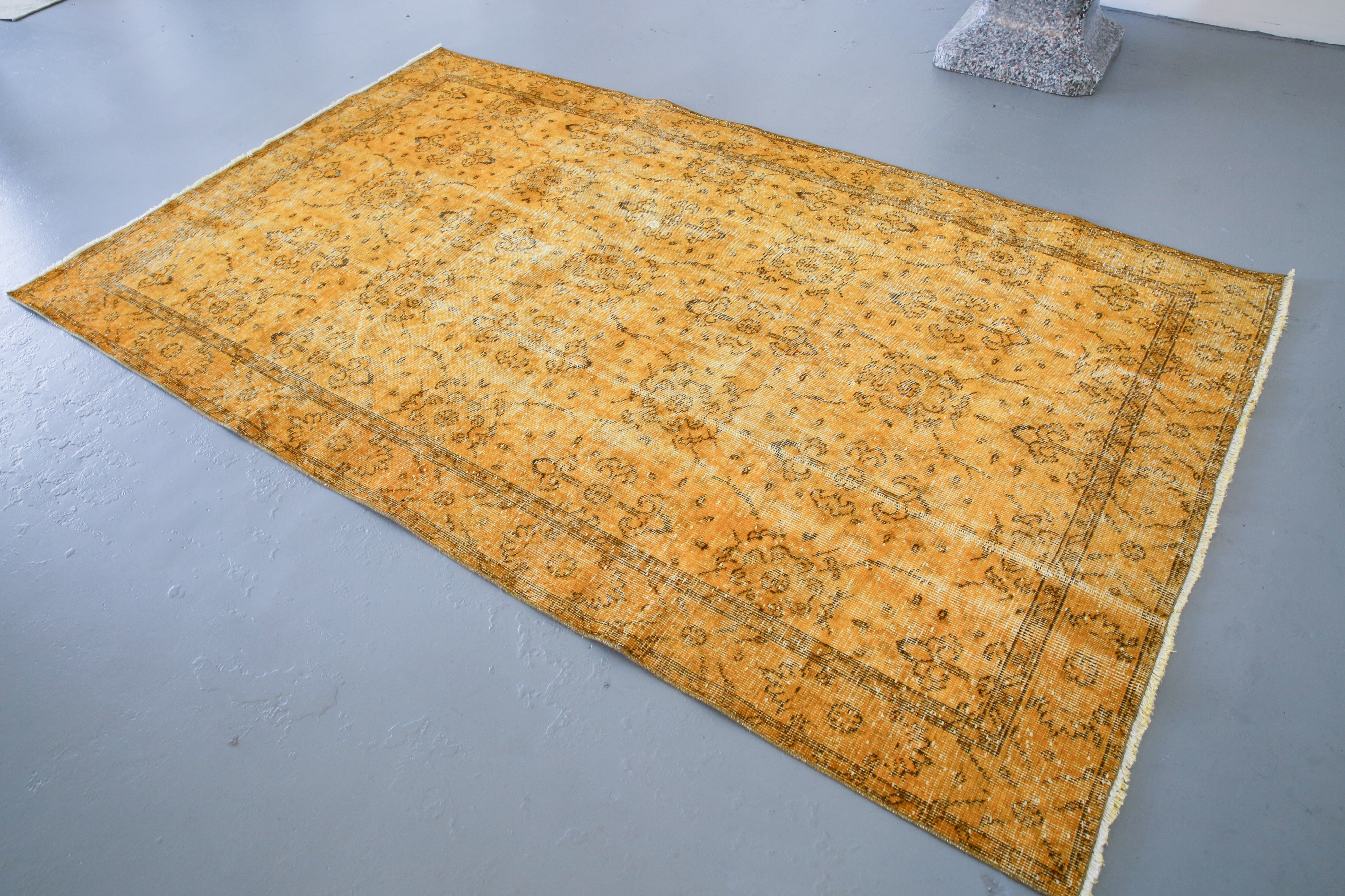 Vintage Overdyed Isparta Rug in Lemon 5ftx8ft