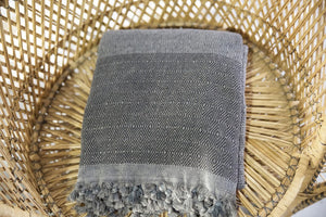 Diamond Large Pestemal Throw in Black Stone