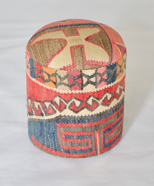 Solid Cylinder Shaped Kilim Stool