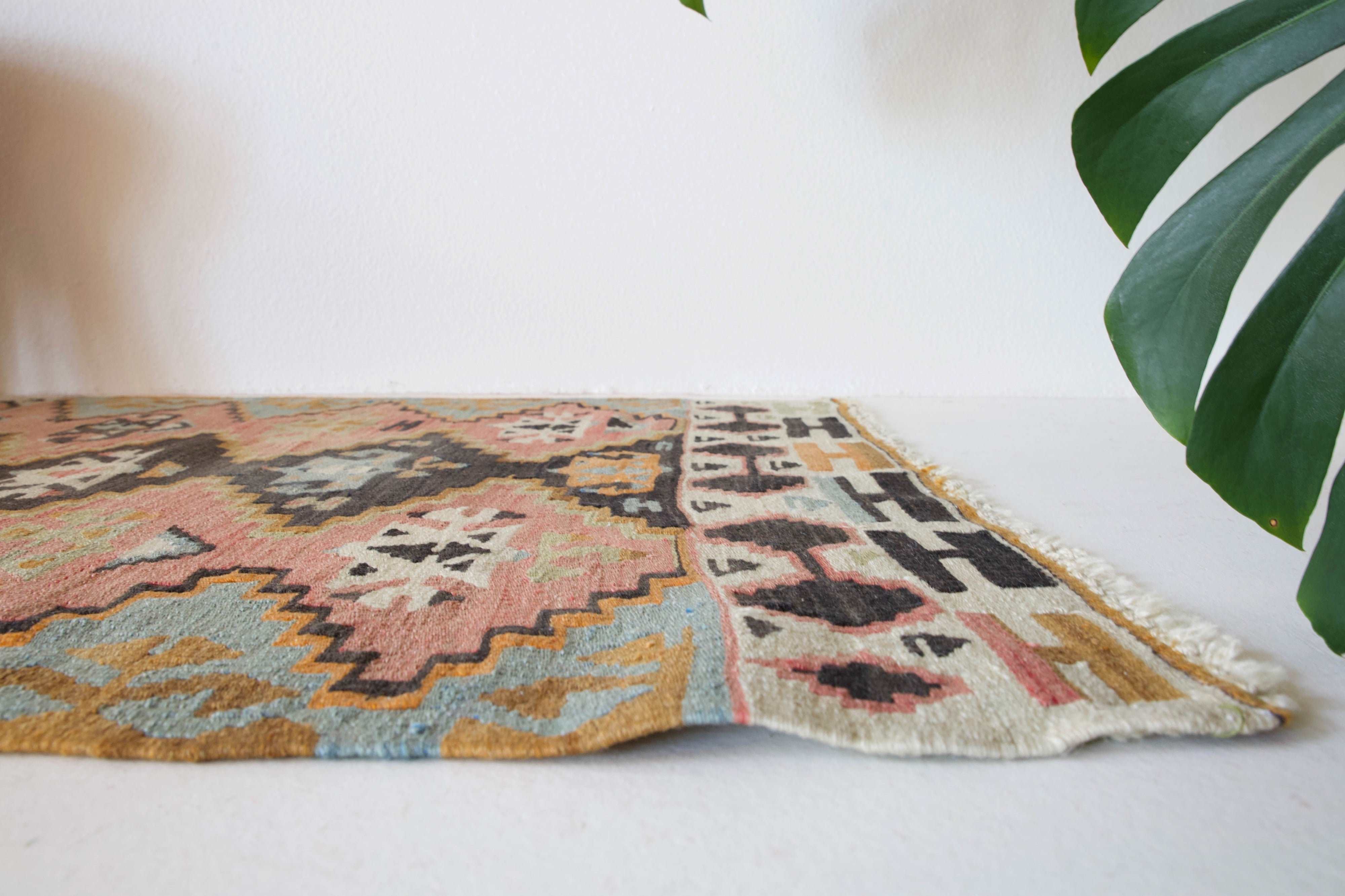 pile rug runner, Turkish rug, vintage rug, portland, rug shop, bright colors, wild shaman, runner rug, bold color, Portland, Oregon, rug store, rug shop, local shop, hallway runner, skinny runner, kilim runner,  earthy colors, faded colors, light colors