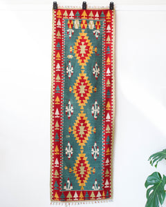pile rug runner, Turkish rug, vintage rug, portland, rug shop, bright colors, wild shaman, runner rug, bold color, Portland, Oregon, rug store, rug shop, local shop, hallway runner, skinny runner, kilim runner,  earthy colors, faded colors