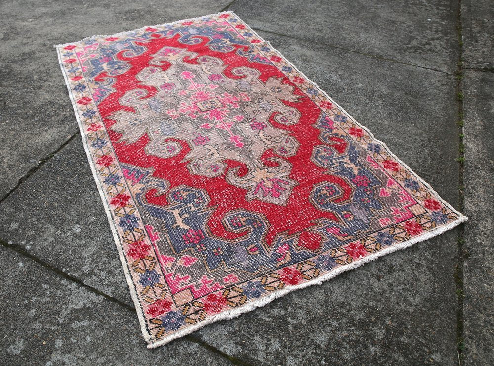 Vintage Faded Anatolian Turkish Rug