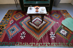 Old Milas Kilim Rug 5.7ftx9.2ft
