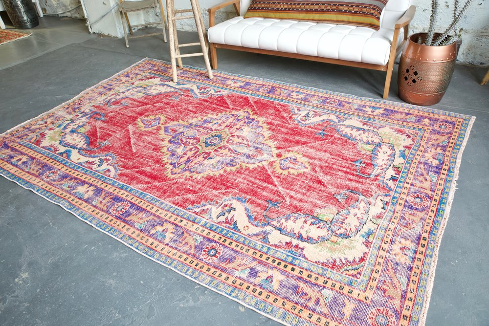 Old Demirci Oushak Rug 6.3ftx9.6ft