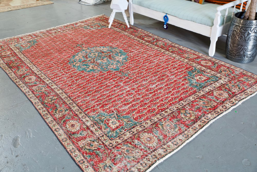 Old Demirci Oushak Rug 6.7ftx9.9ft