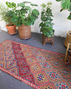 flat weave runner, pile rug runner, Turkish rug, vintage rug, portland, rug shop, bright colors, wild shaman, runner rug, bold color, Portland, Oregon, rug store, rug shop, local shop, hallway runner, skinny runner
