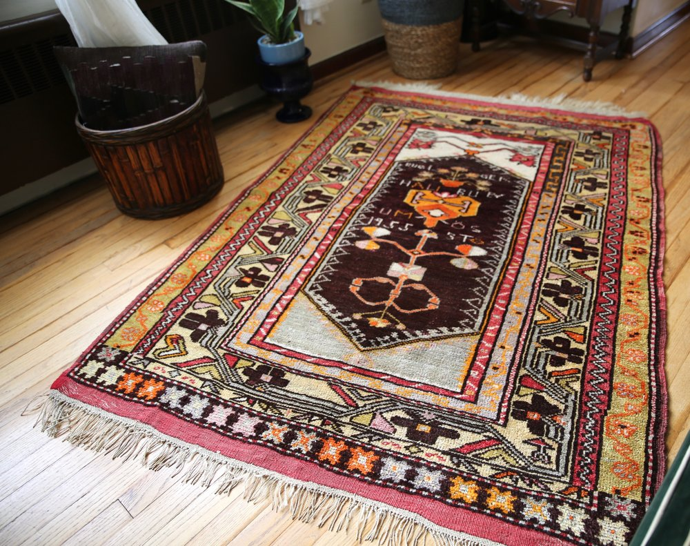 Old Turkish Milas Rug 4.1x5.11ft