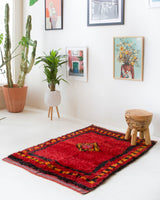 Vintage Turkish rug in a living room setting, pile rug, Turkish rug, vintage rug, portland, rug shop, bright colors, wild shaman, soft rug, bold color, Portland, Oregon, rug store, rug shop, local shop, shag rug, shaggy, plush
