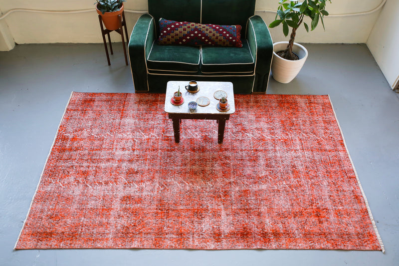Vintage Overdyed Isparta Rug in Burnt Orange 5.4ftx8.7ft