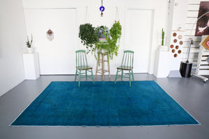Vintage Turkish Overdyed Rug in Teal 6.6ftx9.5ft