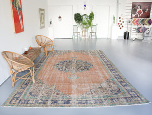 Vintage Turkish Isparta Rug 7.7ftx11.9ft