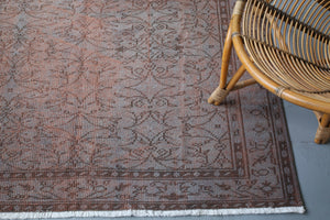Vintage Turkish Overdyed Rug in Earthlike 5.8ftx8.10ft