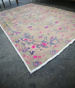 Vintage Faded Anatolian Turkish Rug 4.7ftx7.7ft