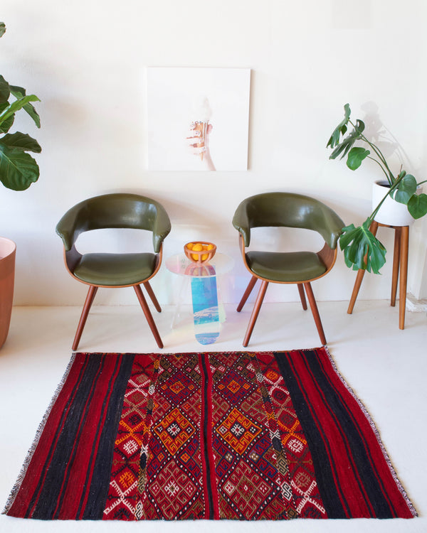 Vintage mini kilim rug in room decor setting, kilim, Turkish rug, vintage rug, portland, rug shop, bright colors, wild shaman, soft rug, bold color, Portland, Oregon, rug store, rug shop, local shop